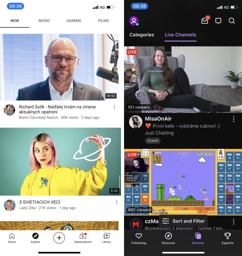YouTube a Twitch