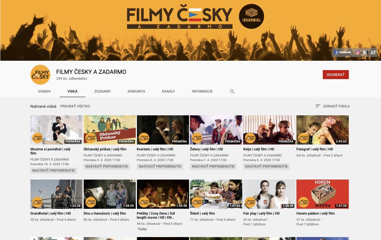 Celé filmy na YouTube